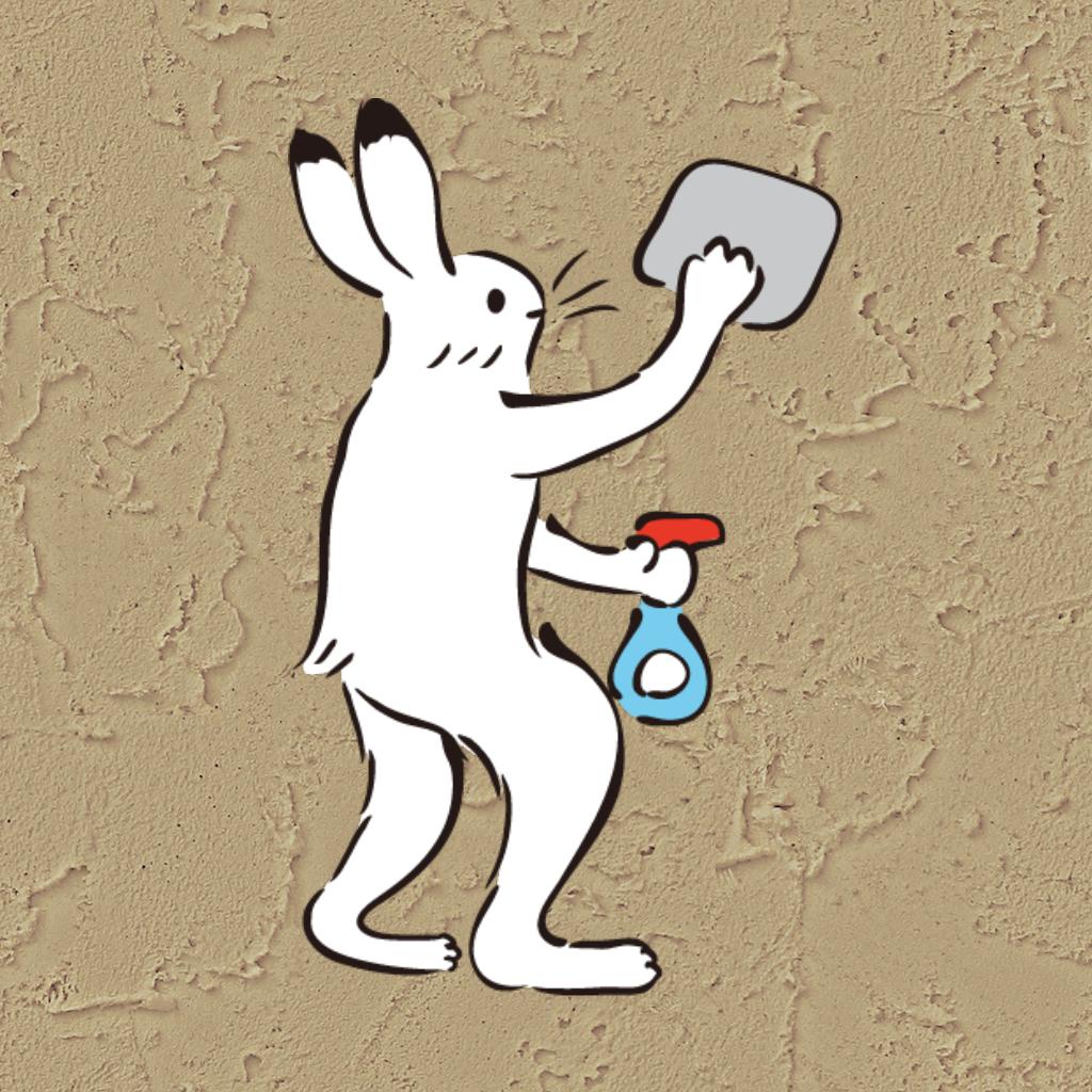 掃除するウサギ3