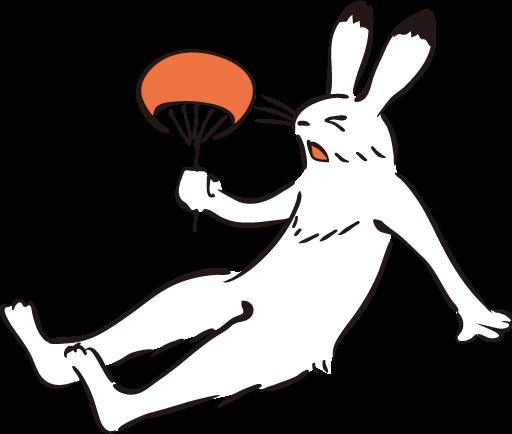 うちわであおぐウサギの画像