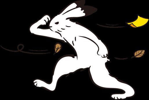 強風の中進むウサギの画像